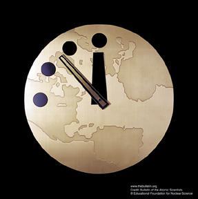 上周四「末日鐘」已被調至距離「午夜」僅餘百秒,成為設立「末日鐘」以來最接近世界末日一刻