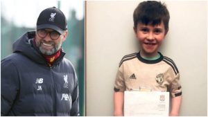 一名10歲曼聯小球迷寫信給利物浦主帥高普,要求對方不要再贏波。