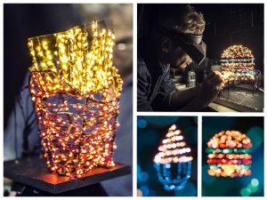 法國雕塑家Olivier Favart引用麥當勞代表作,利用1100顆LED燈飾打造出一個霓虹廣告。